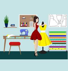 Designer of clothes in studio a vector