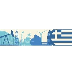 Energy and Power icons set Greece flag vector