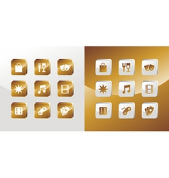 Entertainment gold icons set vector image