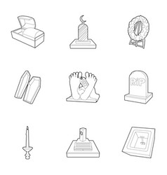 exequies icons set outline style vector image
