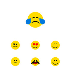 flat icon expression set of cheerful displeased vector image