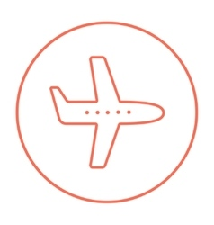 Flying airplane line icon vector image
