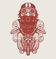 Funny biker caricature racer on little motorcycle vector