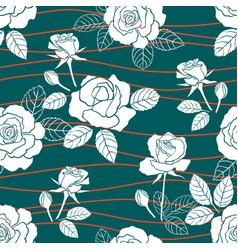 Garden roses summer seamless pattern vector