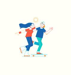Girl on rollerblades and boy on skateboard vector