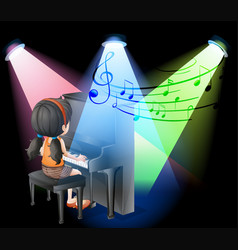Girl playing piano on stage vector