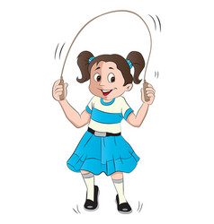 girl skipping vector image