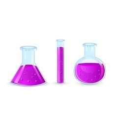 glass flasks with violet substance vector image