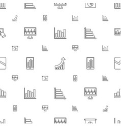 graph icons pattern seamless white background vector image