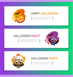 halloween horizontal banners vibrant light set vector image