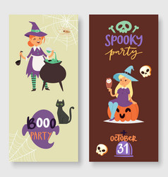 halloween spooky party banners vector image