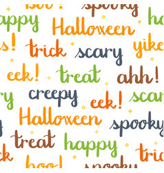 halloween words lettering seamless pattern white vector