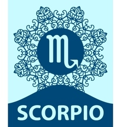 Hand-drawn zodiac Scorpio with ethnic floral vector image