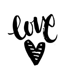 handwritten lettering word love with red heart vector image
