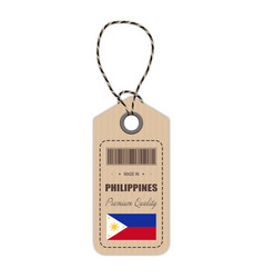 hang tag made in philippines with flag icon vector image