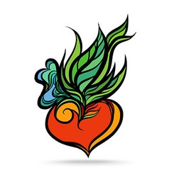 Heart Leaf Hand Drawing Color vector
