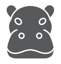 hippo glyph icon animal and zoo hippopotamus vector image