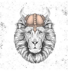 Hipster animal lion wearing a viking helmet vector