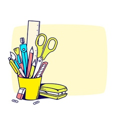 Holder with stationery set in frame vector