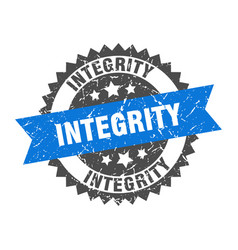 Integrity grunge stamp with blue band integrity vector