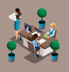 Isometric girl the entrepreneur signs a loan agree vector