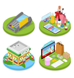 isometric online shopping concept mobile payment vector image