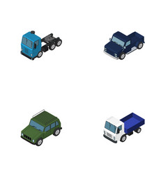 isometric transport set of lorry suv armored and vector image