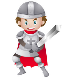 Knight in iron armour suit vector