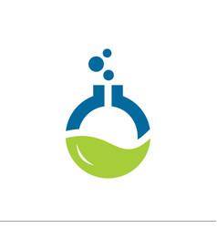 laboratory tube and leaf logo designs vector image