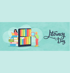 Literacy day phone book app student banner vector