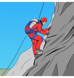 Man climber pop art style vector
