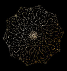 mandala golden round ornament on the black vector image