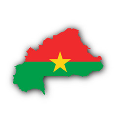 map and flag of burkina faso vector image
