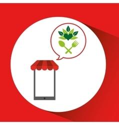 Mobile phone shopping organic food natural vector