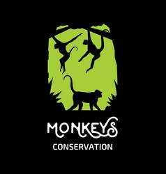 monkeys conservation logo vector image