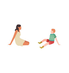 mother and child sitting and talking outdoor vector image