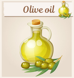 olive oil in bottle cartoon icon vector image