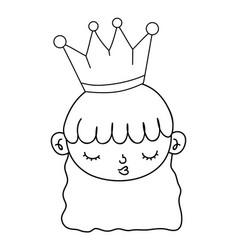 outline nice girl head with crown and hairstyle vector image