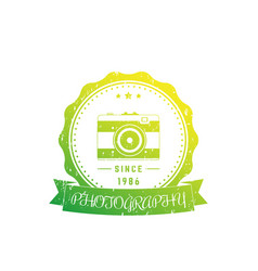 photography logo badge with vintage camera vector image