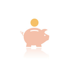 piggy bank icon with color and reflection on a vector image