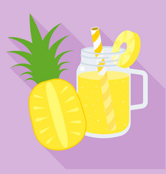 pineapple juice in mason jar flat design vector image