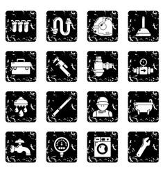 Plumber symbols icons set grunge vector
