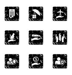 Protection icons set grunge style vector image