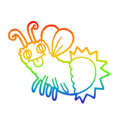 Rainbow gradient line drawing cartoon firefly vector