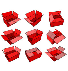 red delivery cardboard box for design vector image vector image