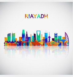 Riyadh skyline silhouette in colorful geometric vector