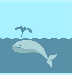 sad whale in the sea vector image