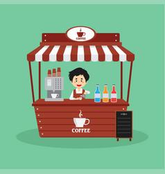 Salesman sell coffee booth street vector