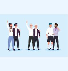 set men couple together to lgbt celebration vector image