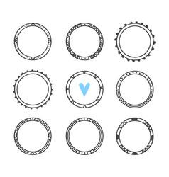 set of 9 hand drawn frames cute circle wreaths vector image